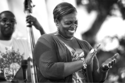Comical bandmates keep Dianne Reeves laughing. Photo Credit: Robert Birnbach