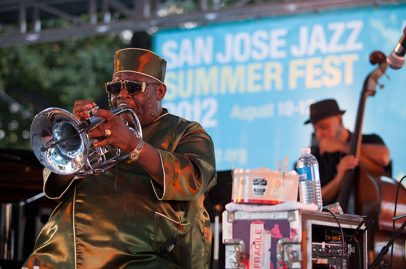 Wayne Henderson's flugelhorn sings during the Jazz Crusaders performance. Photo Credit: Robert Birnbach