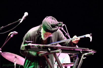 Dr. Lonnie Smith's San Jose Rep Stage set was filled with new sounds. Here he is playing a pole-shaped electric bass that changed pitch based on touch. Photo Credit: Gary Jamerson