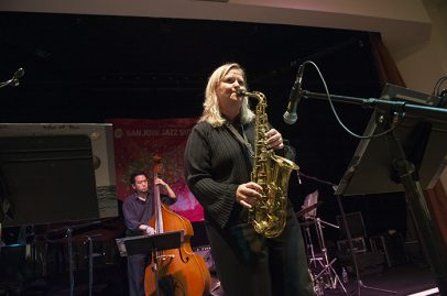 Kristen Strom with the John Worley Mo-chi Sextet on Silicon Valley Stage. Photo credit: Daniel Garcia