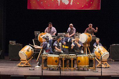 San Jose Taiko and the Bangerz on California Theatre Stage. Photo credit: Daniel Garcia