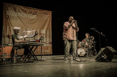 Over at the San Jose Rep Stage, experimental, improvisational music from the Dafnis Prieto Proverb Trio kept the audience on their toes. Photo Credit: Jérôme Brunet