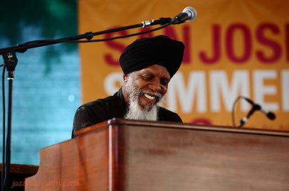 And Hammond guru Dr. Lonnie Smith joined Javon Jackson and Les McCann on stage--it was a second festival performance for him. Photo Credit: Gary Jamerson