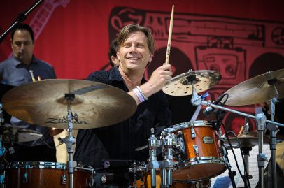 Drummer Tommy Igoe led his Groove Conspiracy big band through a number of tunes when he opened up the Sobrato Organization Main Stage Saturday. Photo Credit: Robert Birnbach