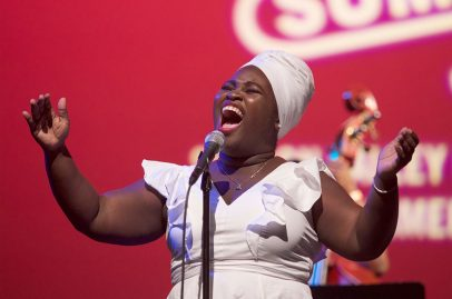 """Cuban sensation Dayme Arocena had fans dancing in the aisle as she played the Hammer Theatre Stage Sunday afternoon. The set was later broadcast on WBGO's """"Jazz Night in America."""" Photo credit: Andy Nozaka."""