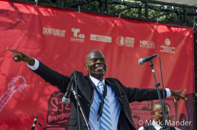 Saxophonist and funk titan Maceo Parker takes a well-deserved bow on the Sobrato Organization Main Stage. Photo credit: Mark Mander.