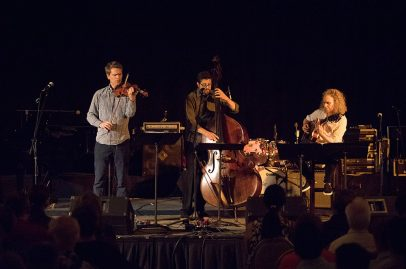The San Francisco String Trio brought together three Bay Area music giants—Mads Tolling, Jeff Denson and Mimi Fox—to close the Silicon Valley Stage. Photo credit: Robert Birnbach.