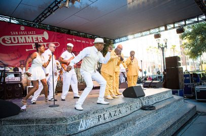 The Whispers kept rocking steady during the closing performance on the Sobrato Organization Main Stage. Photo credit: Robert Birnbach.